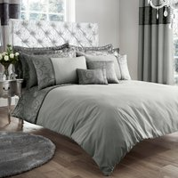 image-Lucia Embroidered Silver Duvet Cover and Pillowcase Set Silver