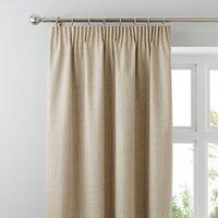 Solar Ecru Blackout Pencil Pleat Curtains Natural
