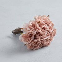 image-Artificial Rose Bouquet Pink 21cm Dusky Pink