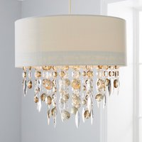 image-Mila Ivory Jewel Shade Easy Fit Pendant Ivory (White)