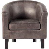 image-Faux Leather Tub Chair - Grey Grey