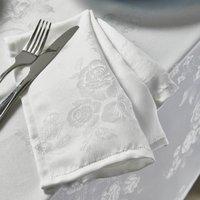 Rose Jacquard Pack of 4 White Napkins White