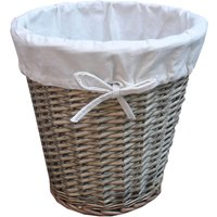Natural Wicker Waste Bin with Liner Grey