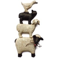 Stacking Animals Wall Art White / Brown