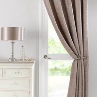 Chenille Taupe Thermal Pencil Pleat Door Curtain Taupe (Brown)