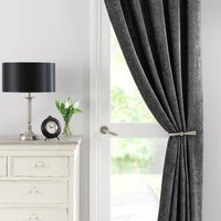 Chenille Grey Thermal Pencil Pleat Door Curtain Grey