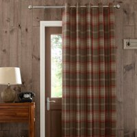 Highland Check Red Eyelet Door Curtain Red, Brown and White