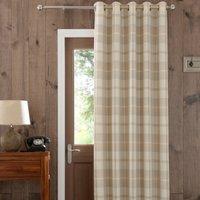 Highland Check Natural Eyelet Door Curtain Brown