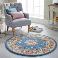 Lotus Premium Aubusson Circle Rug Blue