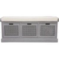 Lucy Cane Grey Storage Bench Grey