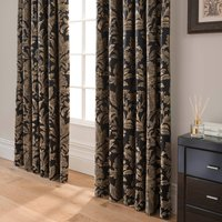 Dorma Blenheim Black Jacquard Blackout Pencil Pleat Curtains Black