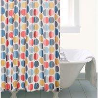 Elements Circle Shower Curtain White/Orange/Blue
