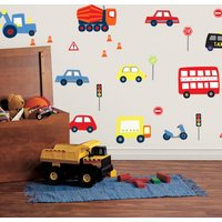 Transport Wall Stickers Red/Blue/Yellow/Orange
