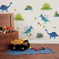 Roar! Dinosaur Wall Stickers White/Blue/Green