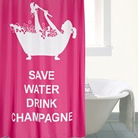 Drink Champagne XL Shower Curtain Pink and White