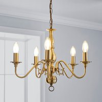 image-Augusta 5 Light Antique Brass Candelabra Ceiling Fitting Antique Brass
