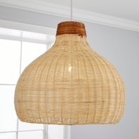 image-Trient Woven Rattan Easy Fit Pendant Natural