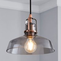 image-Suva Industrial 1 Light Pendant Smoked Glass Ceiling Fitting Smoke (Grey)