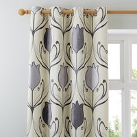 Lalique Charcoal Eyelet Curtains Grey and Cream