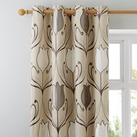 Lalique Cream Eyelet Curtains Cream and Brown