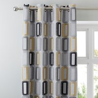 Elements Dahl Ochre Eyelet Curtains Yellow, Black and Grey