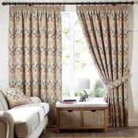 Lucetta Jewel Pencil Pleat Curtains Brown, Red and Blue