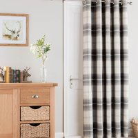 Highland Check Charcoal Eyelet Door Curtain Charcoal and White