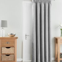 Chenille Silver Thermal Pencil Pleat Door Curtain Silver