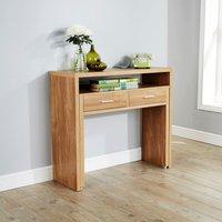 image-Regis Oak Hideaway Console Desk Natural