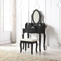 Lumberton Black Antique Dressing Table Set Black