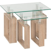 image-Milan Glass Top Nest of Tables Natural