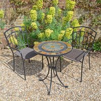 Villena Black 2 Seat Bistro Set with Malaga Chairs Raw Umber (Brown)