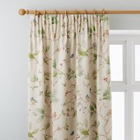 Dorma Woodland Birds Natural Pencil Pleat Curtains Brown, Green and Blue