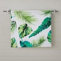 image-Tropical Leaf Digitally Printed Hand Towel Green