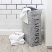 image-Candy Rose Felt Laundry Basket Grey