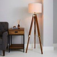 image-Trio Tripod Natural Floor Lamp Natural Brown