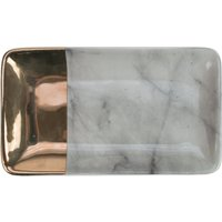 Marble Effect Small Gold Dipped Platter Black, White and Gold