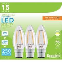 image-Dunelm 2 Watt BC LED Filament Candle Bulb 3 Pack Clear