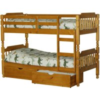 image-Spindle Pine Bunk Bed with Drawers Natural