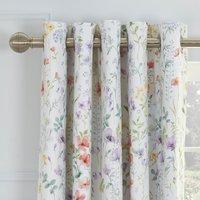Dorma Botanical Wildflower Blackout Eyelet Curtains White