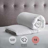 Fogarty Anti Bacterial White Goose Feather and Down 15 Tog Duvet White