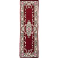 Lotus Premium Aubusson Runner Red, Green and Pink