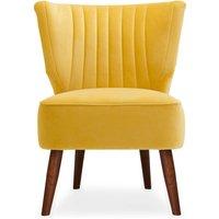 Eva Velvet Wingback Cocktail Chair Yellow