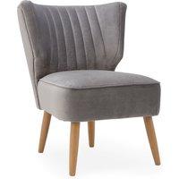 Eva Velvet Wingback Cocktail Chair Grey