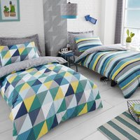 image-Geo Green 2 Pack Duvet Cover and Pillowcase Set Green / Grey