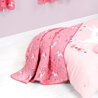 Unicorn Quilted Throw Pink, Purple and White