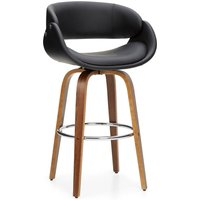 Torcello Bar Stool Black PU Leather Black