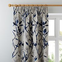 Zen Jacquard Blue Pencil Pleat Curtains Grey and Blue
