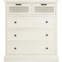 image-Lucy Cane Cream 5 Drawer Chest White