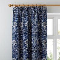 Lucetta Navy Pencil Pleat Curtains Navy and Green